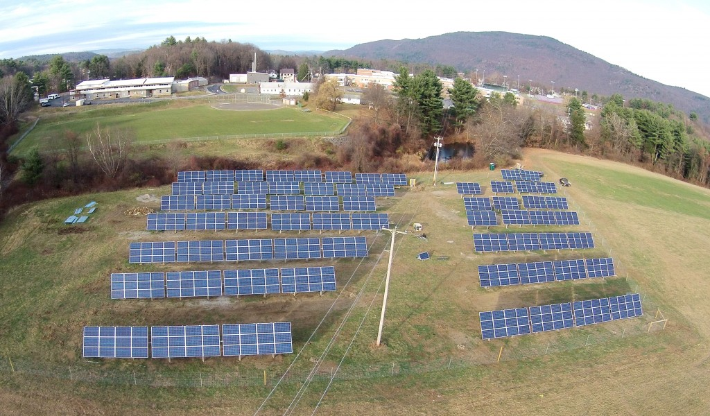 This 150kW Community Solar project in Brattleboro, Vermont, has been providing power to six residences and three businesses since October 14th, 2014. Photo courtesy Soveren Solar