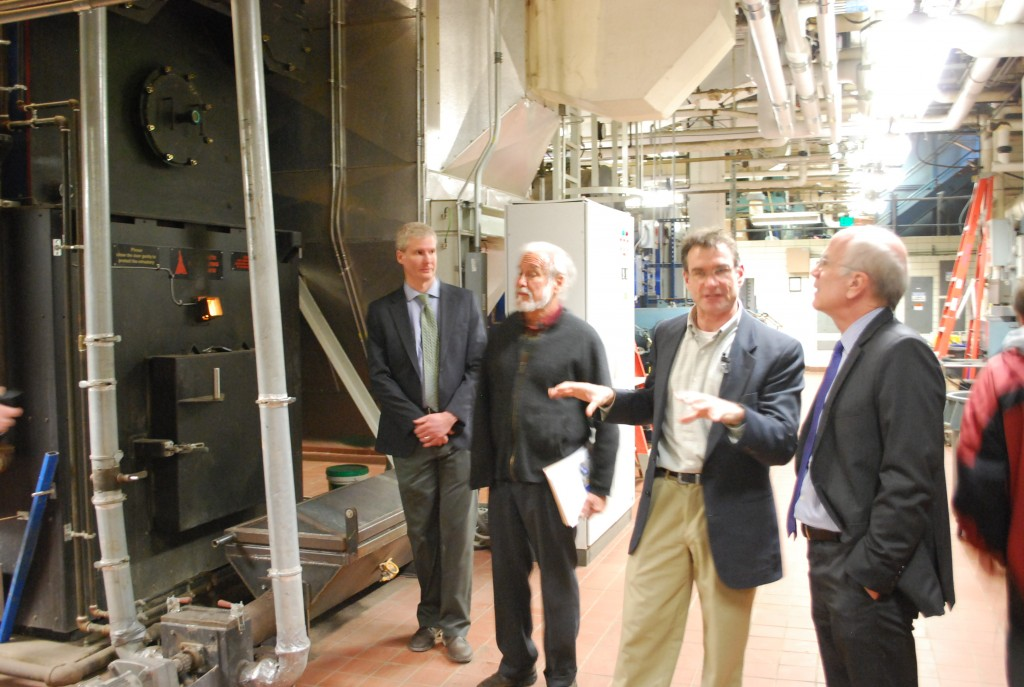 """Peter was at National Life in Montpelier to announce the Biomass Thermal Utilization Act that would make it more affordable for Vermonters to install wood heating systems in their homes or businesses. National Life cut their heating bill in half using a modern wood heating system."""