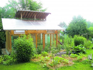 Small office and bioshelter on the Whitman Homestead built largely from recycled materials.