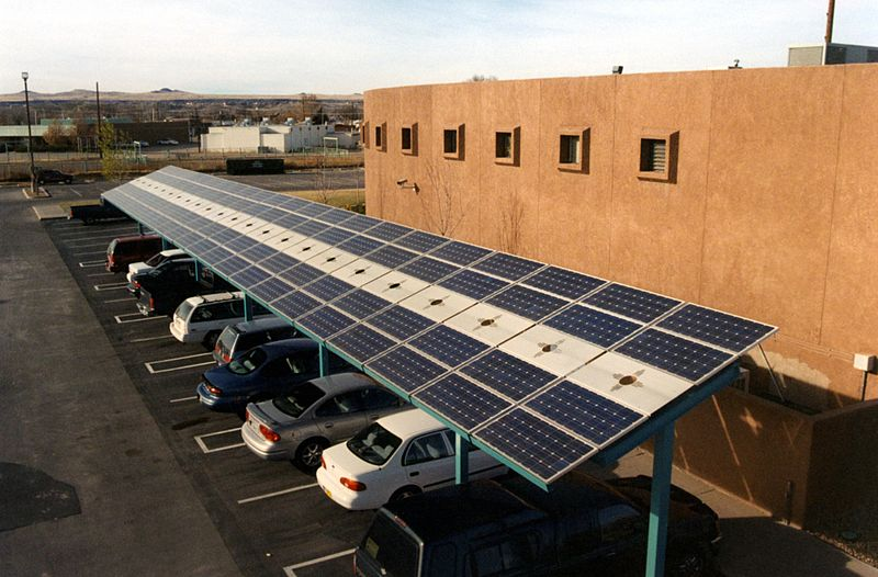 Solar carport at the Indian Pueblo Cultural Center in Albuquerque, New Mexico. Photo from energy.gov.