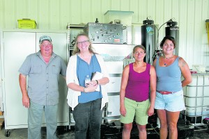 VT Bioenergy Team at Borderview Farm in Alburgh, Vermont – left to right: Roger Rainville of Borderview Farm, Christy Sterner of US DOE, Heather Darby of UVM Extension, Natasha Rainville of Borderview Farm