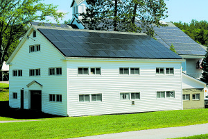 The Alan Shepard Boat House solar array is one of six solar arrays at Proctor Academy. Photo courtesy of Revision Energy