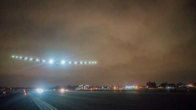 A pre-dawn take-off for Solar Impulse from Moffett Airfield. Solar Impulse photo.