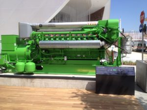 GE's Jenbacher gas engine can run on biogas. Wikimedia Commons