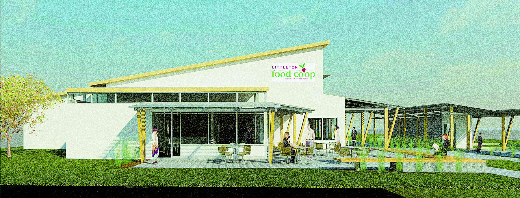 3-D perspective drawing of Littleton Food Co-op's energyefficient project, from the expanded parking lot. Image courtesy of GBA Architecture and Planning