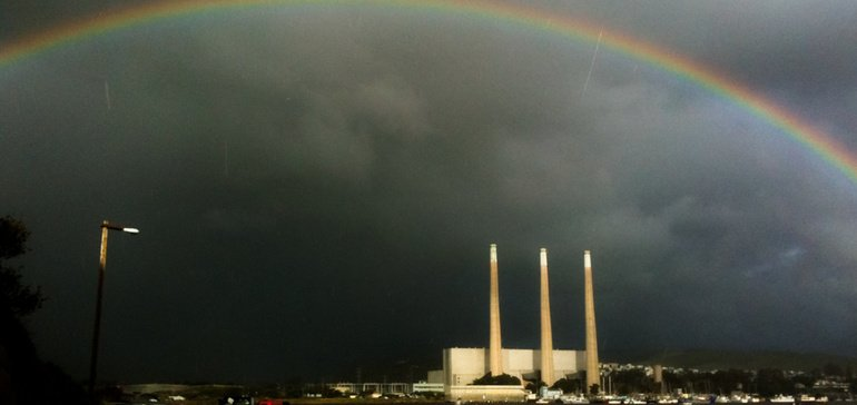 Rainbows will not keep coal alive. (Credit: Flickr user Mike Baird