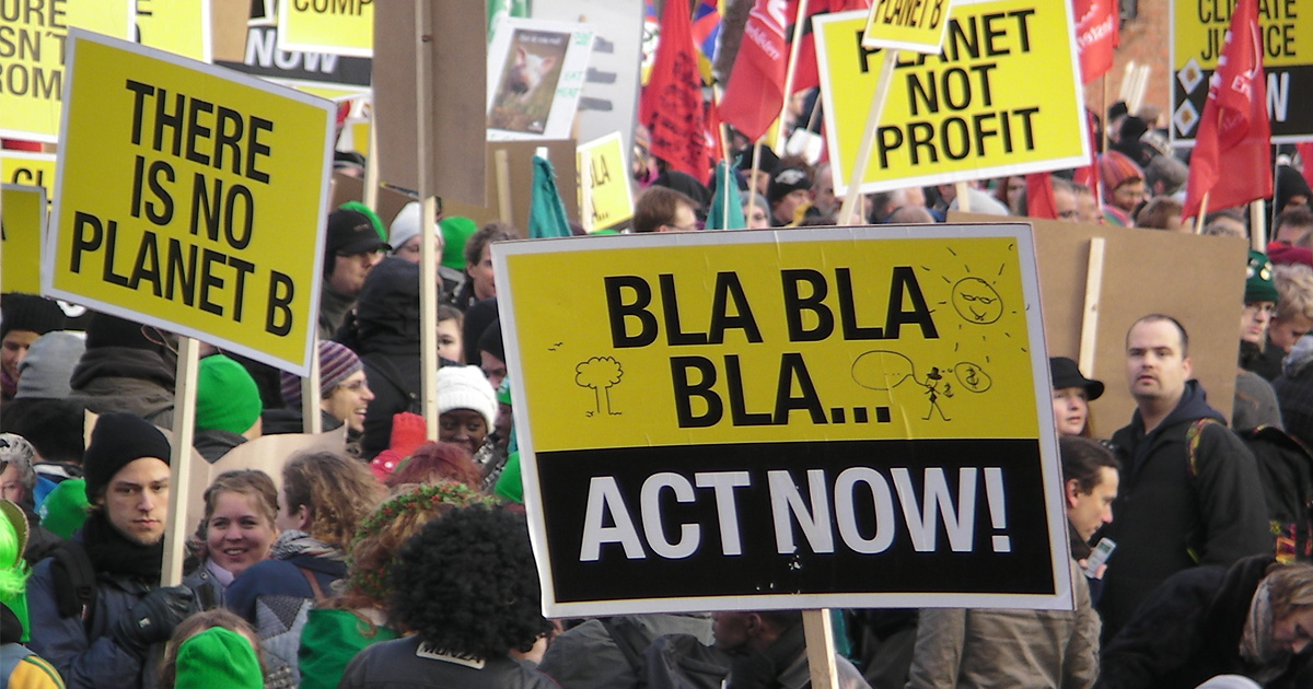 Demonstrators at Copenhagen Climate Talks in 2009. Flickr