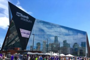 West view of U.S. Bank Stadium, home of the Minnesota Vikings. Image from wikipedia.org.