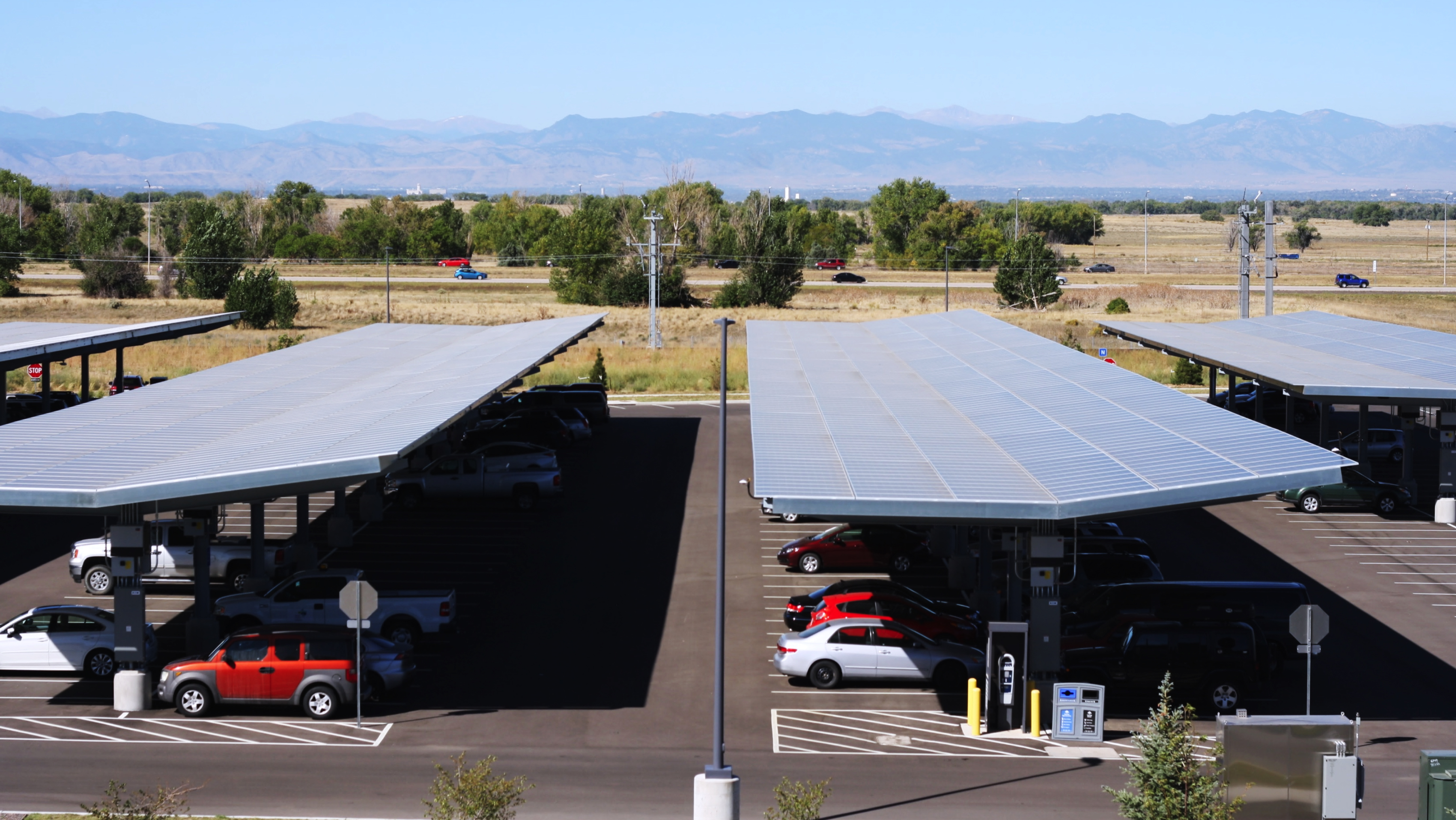 Solar canopies in a Denver car park (Panasonic image)