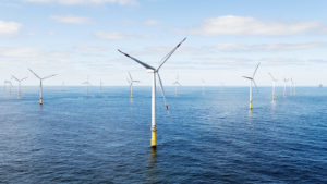 An off-shore wind farm is proposed for 25 miles off the coast of New Bedford, MA to provide stable power for 500,000 homes, with the 55 MW of battery storage. Image: baystatewind.org